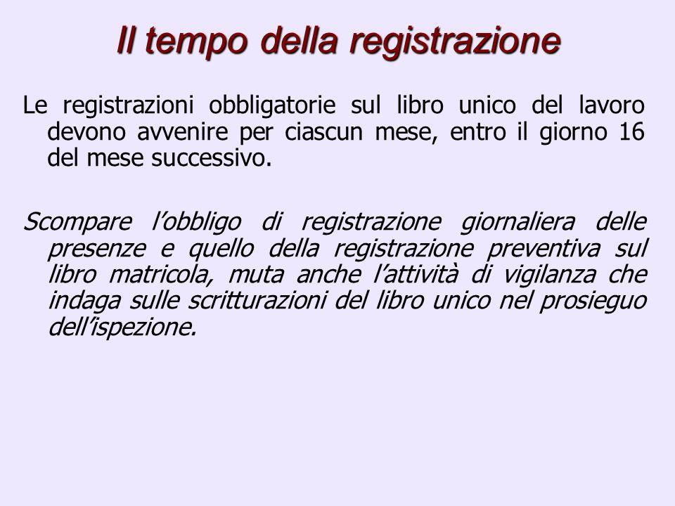 Il tempo della registrazione Le registrazioni obbligatorie sul libro unico del lavoro devono avvenire per ciascun mese, entro il giorno 16 del mese successivo.