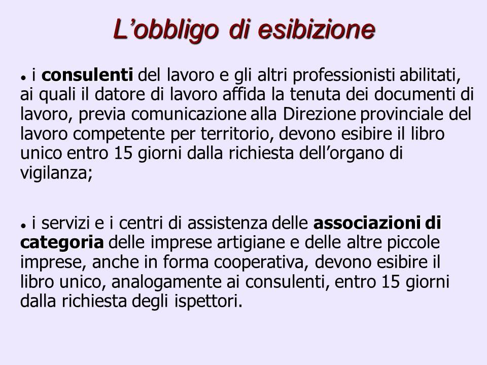 Lobbligo di esibizione consulenti i consulenti del lavoro e gli altri professionisti abilitati, ai quali il datore di lavoro affida la tenuta dei docu