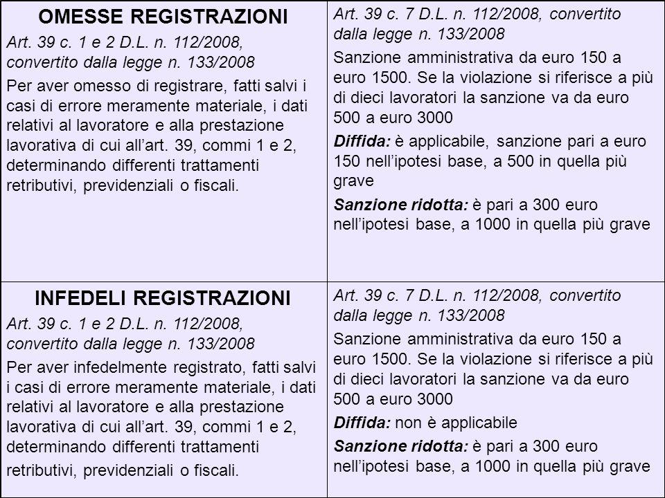 Art. 39 c. 7 D.L. n. 112/2008, convertito dalla legge n. 133/2008 Sanzione amministrativa da euro 150 a euro 1500. Se la violazione si riferisce a più