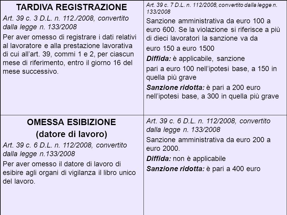 Art. 39 c. 6 D.L. n. 112/2008, convertito dalla legge n. 133/2008 Sanzione amministrativa da euro 200 a euro 2000. Diffida: non è applicabile Sanzione