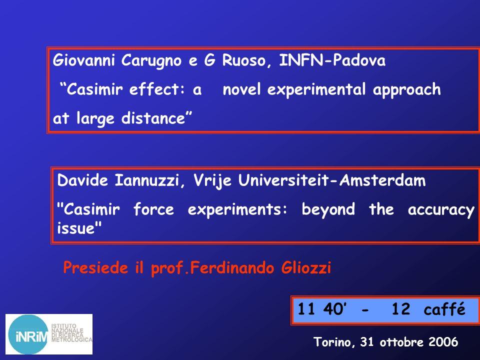 Massimo Inguscio, LENS-Università-Firenze Measurement of Forces in the Casimir Regime using Ultracold Atoms 13 30-15 00 pranzo Torino, 31 ottobre 2006 Mauro Antezza, Lev P.