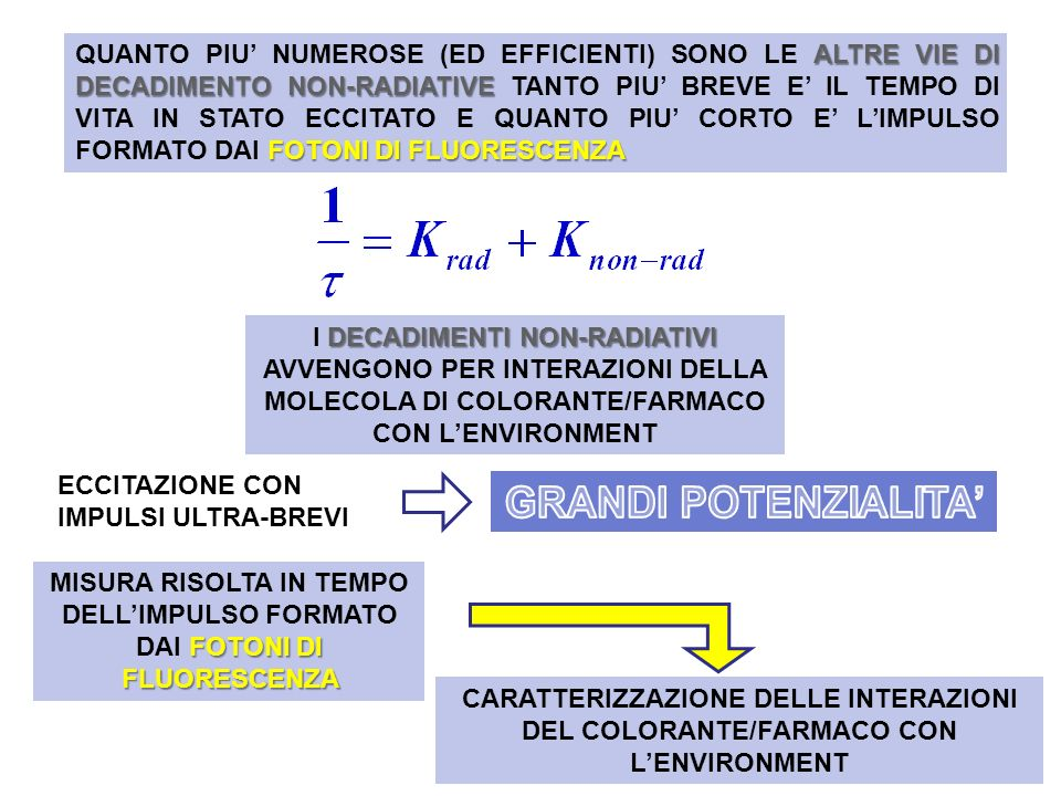 DECADIMENTO NON-RADIATIVO UN PARTICOLARE MECCANISMO DI DECADIMENTO NON-RADIATIVO IL FLUOROFORO ECCITATO DAL LASER VIENE FATTO INTERAGIRE CON UNALTRA MOLECOLA SPECIFICA D A D A A D Fluoroforo (DONOR) eccitato dal laser Acceptor (A) del FRET Struttura rigida tra D ed A DISECCITA NON-RADIATIVAMENTE QUANTO PIU GLI E VICINO GrandeLento PiccolaVeloce IMPULSO DI FLUORESCENZA: DISTANZA D/A:
