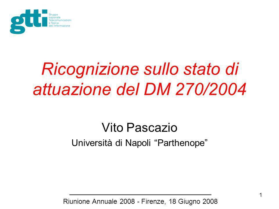 1 Ricognizione sullo stato di attuazione del DM 270/2004 Vito Pascazio Università di Napoli Parthenope _____________________________________ Riunione Annuale 2008 - Firenze, 18 Giugno 2008