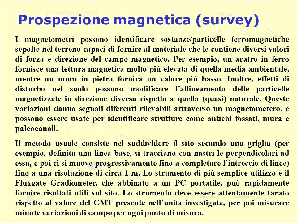 I magnetometri possono identificare sostanze/particelle ferromagnetiche sepolte nel terreno capaci di fornire al materiale che le contiene diversi valori di forza e direzione del campo magnetico.