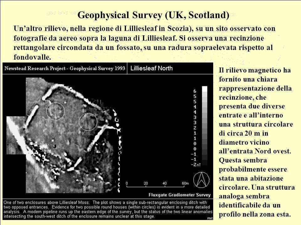 Geophysical Survey (UK, Scotland) Unaltro rilievo, nella regione di Lilliesleaf in Scozia), su un sito osservato con fotografie da aereo sopra la laguna di Lilliesleaf.