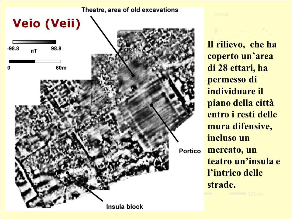 Il rilievo, che ha coperto unarea di 28 ettari, ha permesso di individuare il piano della città entro i resti delle mura difensive, incluso un mercato