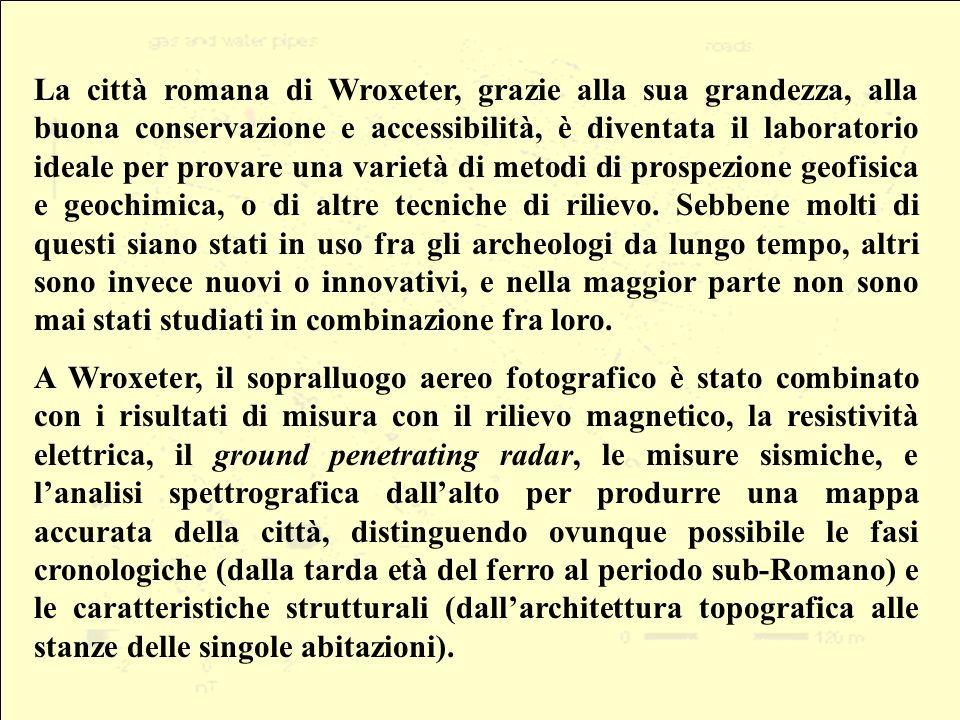 La città romana di Wroxeter, grazie alla sua grandezza, alla buona conservazione e accessibilità, è diventata il laboratorio ideale per provare una varietà di metodi di prospezione geofisica e geochimica, o di altre tecniche di rilievo.