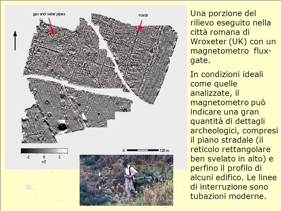 Una porzione del rilievo eseguito nella città romana di Wroxeter (UK) con un magnetometro flux- gate.