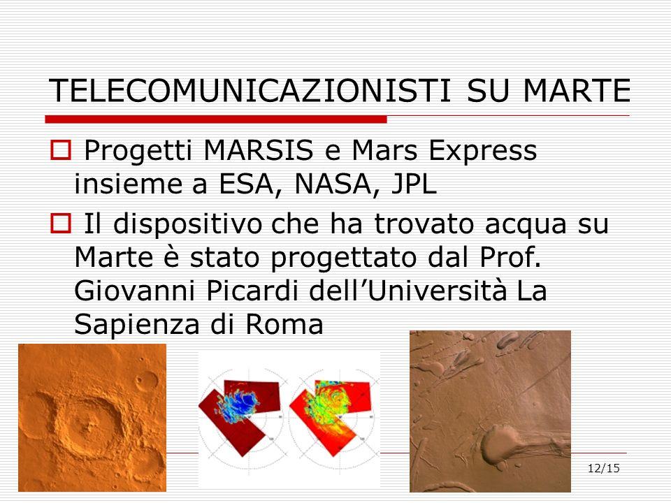 12/15 Progetti MARSIS e Mars Express insieme a ESA, NASA, JPL Il dispositivo che ha trovato acqua su Marte è stato progettato dal Prof. Giovanni Picar