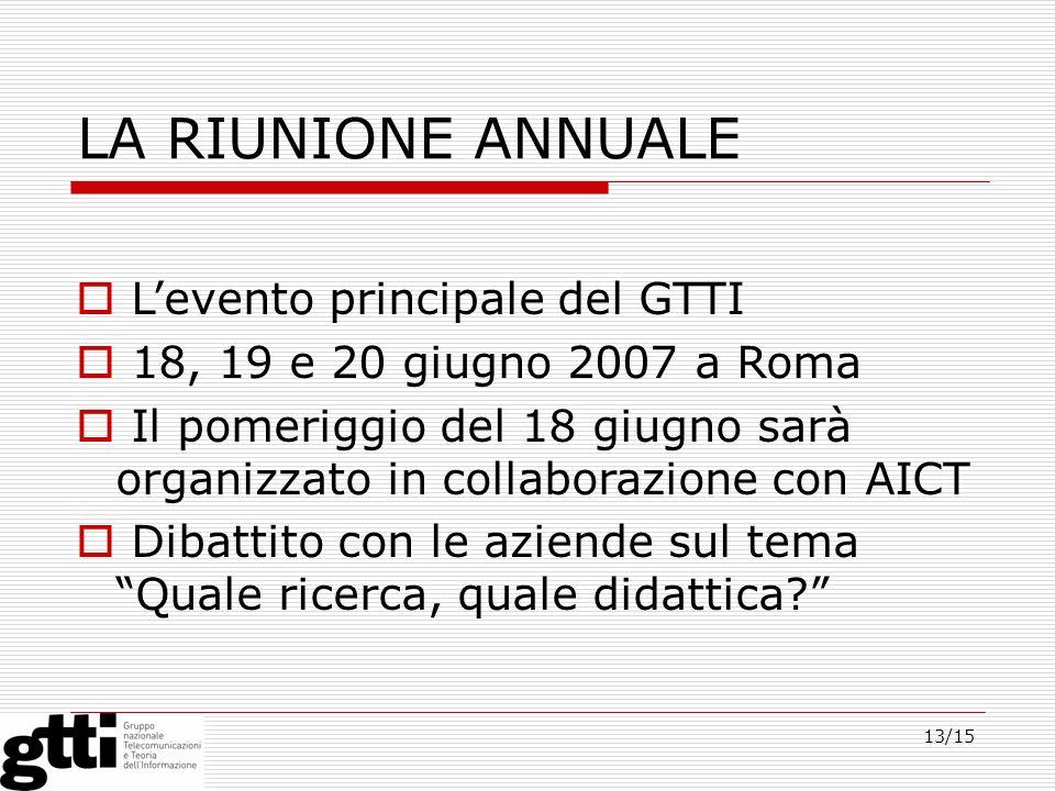13/15 LA RIUNIONE ANNUALE Levento principale del GTTI 18, 19 e 20 giugno 2007 a Roma Il pomeriggio del 18 giugno sarà organizzato in collaborazione co