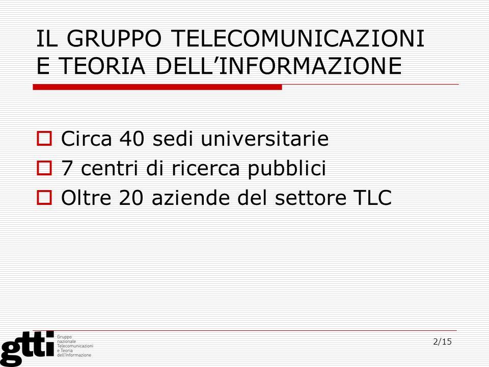 2/15 IL GRUPPO TELECOMUNICAZIONI E TEORIA DELLINFORMAZIONE Circa 40 sedi universitarie 7 centri di ricerca pubblici Oltre 20 aziende del settore TLC