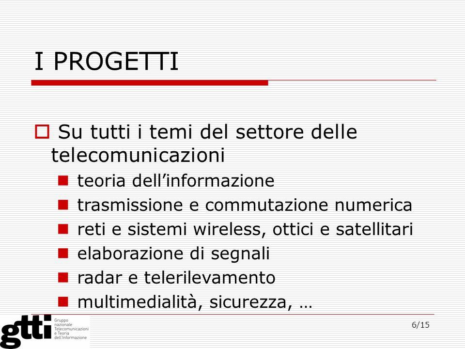 6/15 I PROGETTI Su tutti i temi del settore delle telecomunicazioni teoria dellinformazione trasmissione e commutazione numerica reti e sistemi wirele