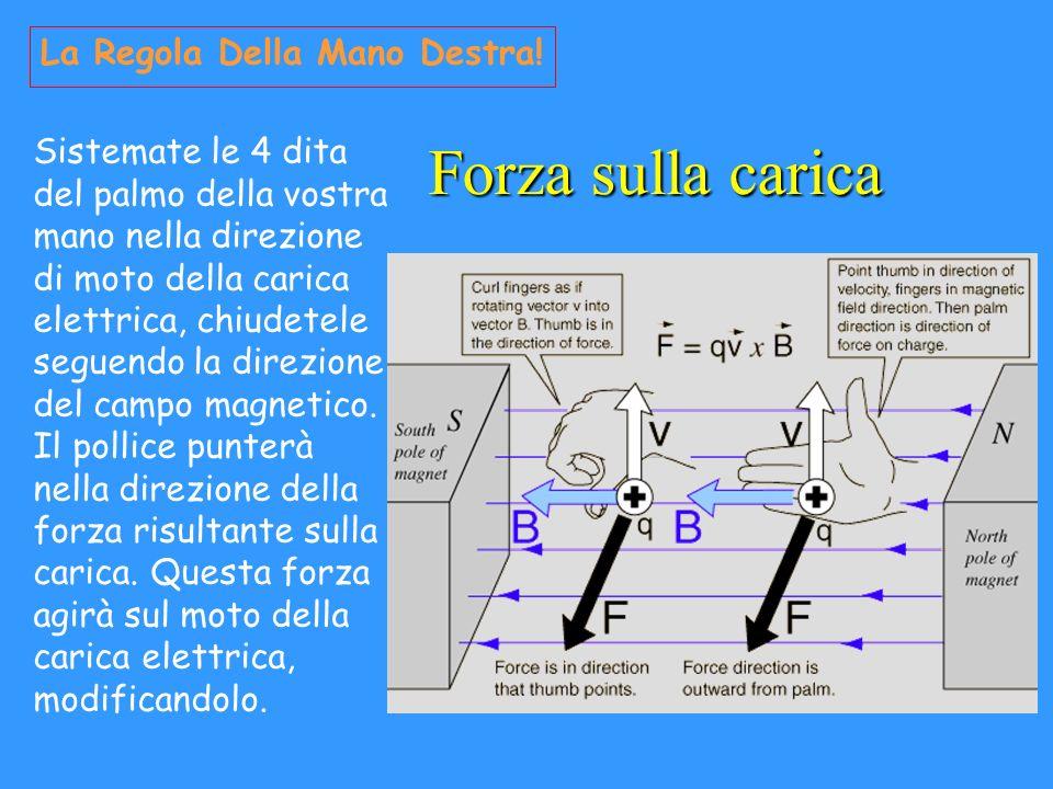 Forza sulla carica La Regola Della Mano Destra! Sistemate le 4 dita del palmo della vostra mano nella direzione di moto della carica elettrica, chiude