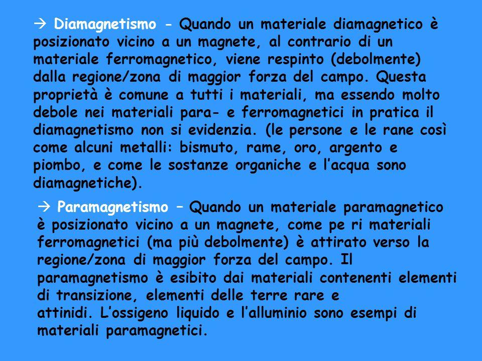 à Paramagnetismo – Quando un materiale paramagnetico è posizionato vicino a un magnete, come pe ri materiali ferromagnetici (ma più debolmente) è atti