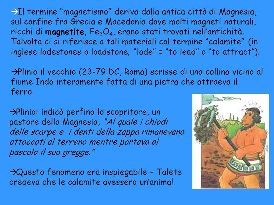 à Il termine magnetismo deriva dalla antica città di Magnesia, sul confine fra Grecia e Macedonia dove molti magneti naturali, ricchi di magnetite, Fe