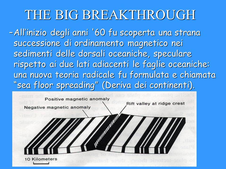 THE BIG BREAKTHROUGH –Allinizio degli anni '60 fu scoperta una strana successione di ordinamento magnetico nei sedimenti delle dorsali oceaniche, spec
