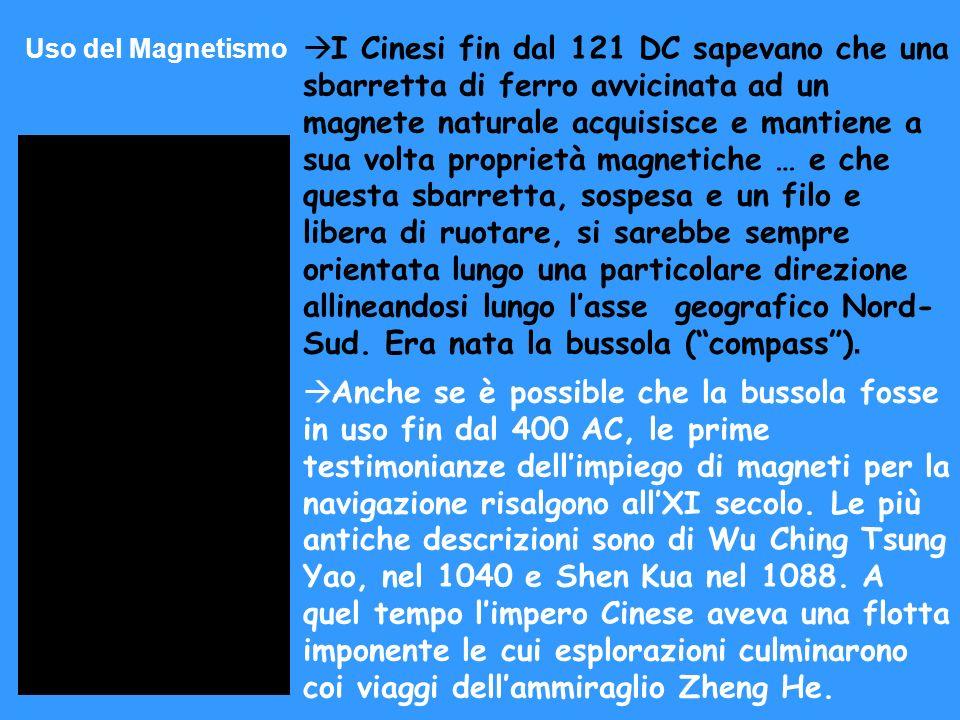 Uso del Magnetismo I Cinesi fin dal 121 DC sapevano che una sbarretta di ferro avvicinata ad un magnete naturale acquisisce e mantiene a sua volta pro
