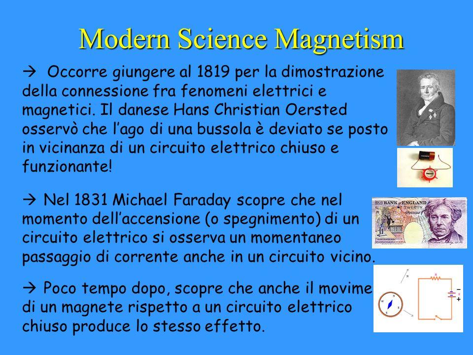Modern Science Magnetism à Occorre giungere al 1819 per la dimostrazione della connessione fra fenomeni elettrici e magnetici. Il danese Hans Christia