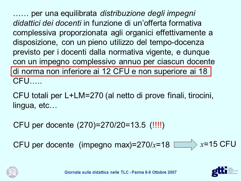 …… per una equilibrata distribuzione degli impegni didattici dei docenti in funzione di unofferta formativa complessiva proporzionata agli organici ef