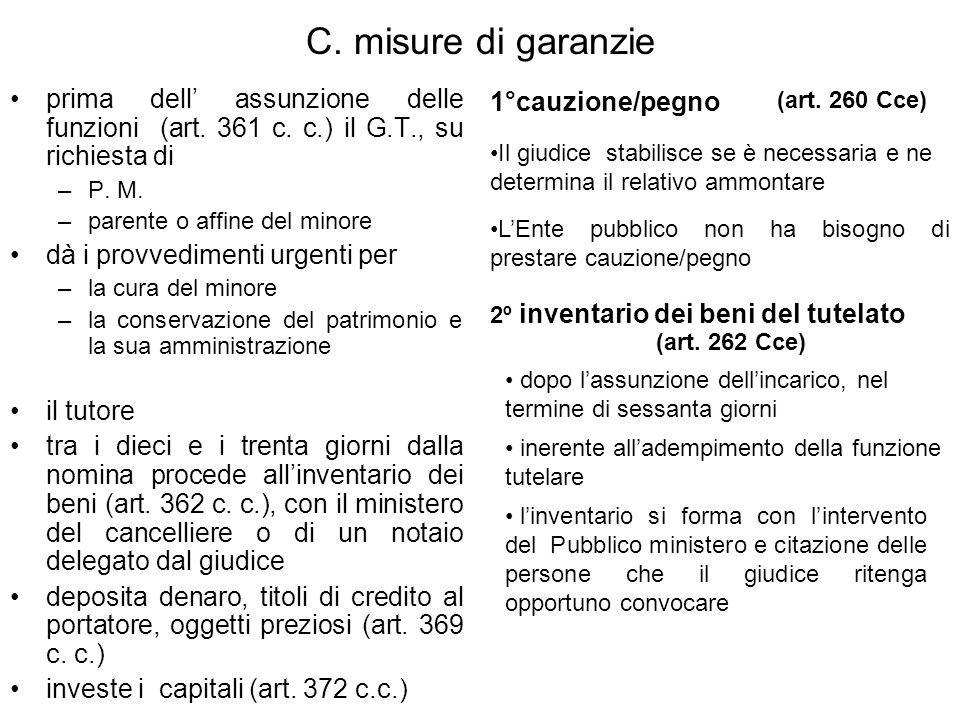 C.misure di garanzie prima dell assunzione delle funzioni (art.