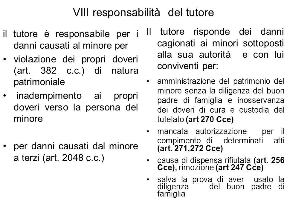 VIII responsabilità del tutore il tutore è responsabile per i danni causati al minore per violazione dei propri doveri (art.