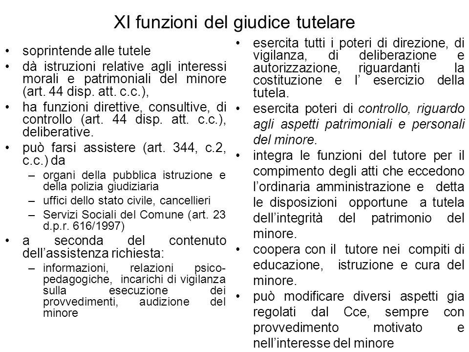 XI funzioni del giudice tutelare soprintende alle tutele dà istruzioni relative agli interessi morali e patrimoniali del minore (art.