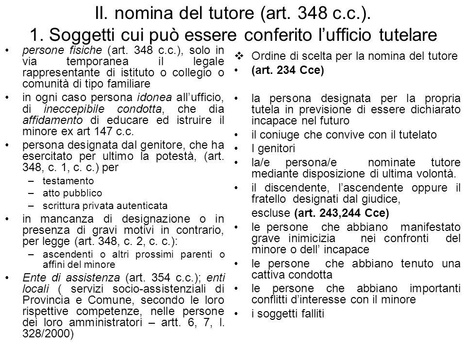 II.nomina del tutore (art. 348 c.c.). 1.