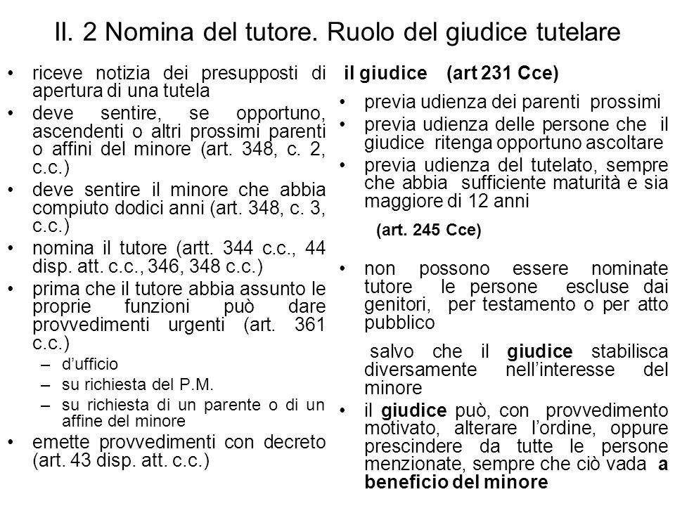 II.2 Nomina del tutore.