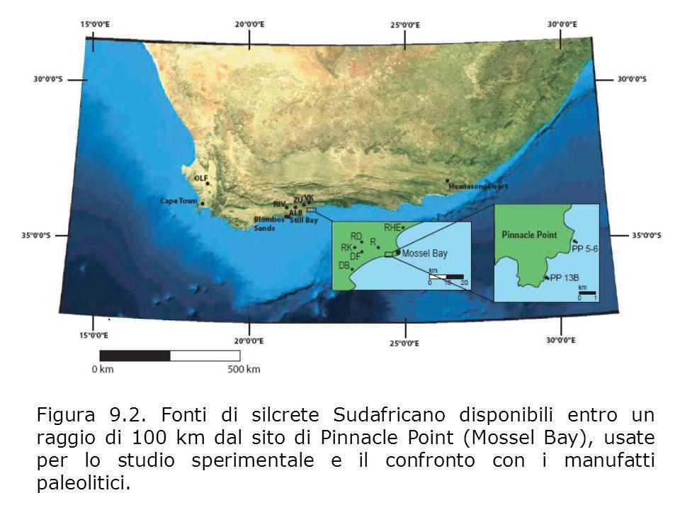 Figura 9.2. Fonti di silcrete Sudafricano disponibili entro un raggio di 100 km dal sito di Pinnacle Point (Mossel Bay), usate per lo studio speriment