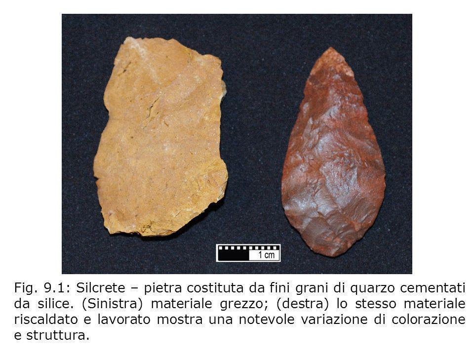 Fig. 9.1: Silcrete – pietra costituta da fini grani di quarzo cementati da silice. (Sinistra) materiale grezzo; (destra) lo stesso materiale riscaldat