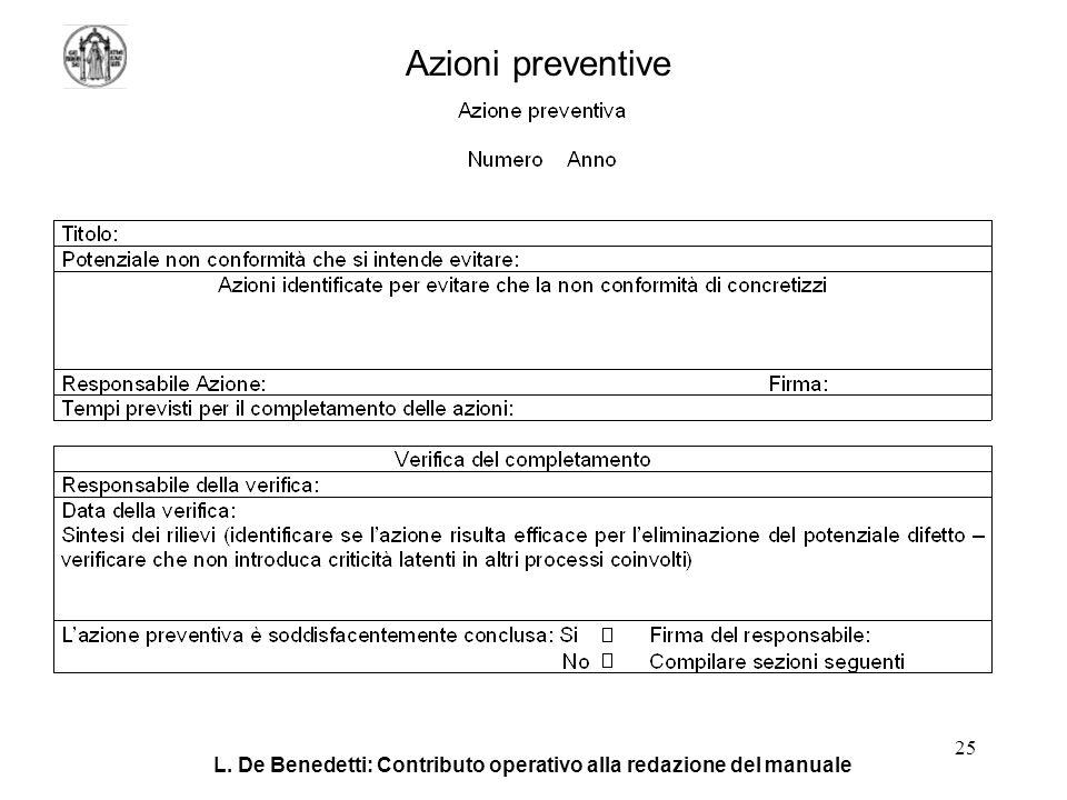 L. De Benedetti: Contributo operativo alla redazione del manuale 25 Azioni preventive