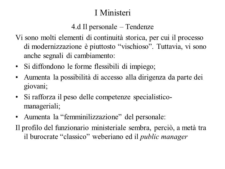 I Ministeri 4.d Il personale – Tendenze Vi sono molti elementi di continuità storica, per cui il processo di modernizzazione è piuttosto vischioso. Tu