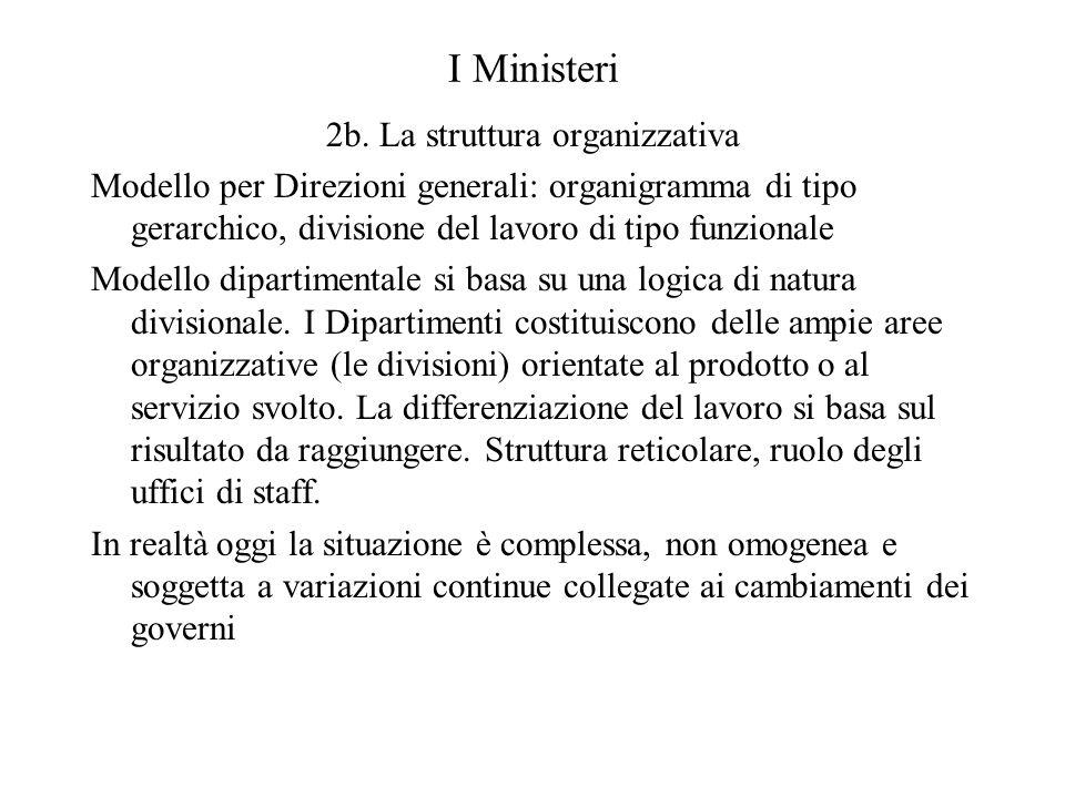 I Ministeri 2b. La struttura organizzativa Modello per Direzioni generali: organigramma di tipo gerarchico, divisione del lavoro di tipo funzionale Mo