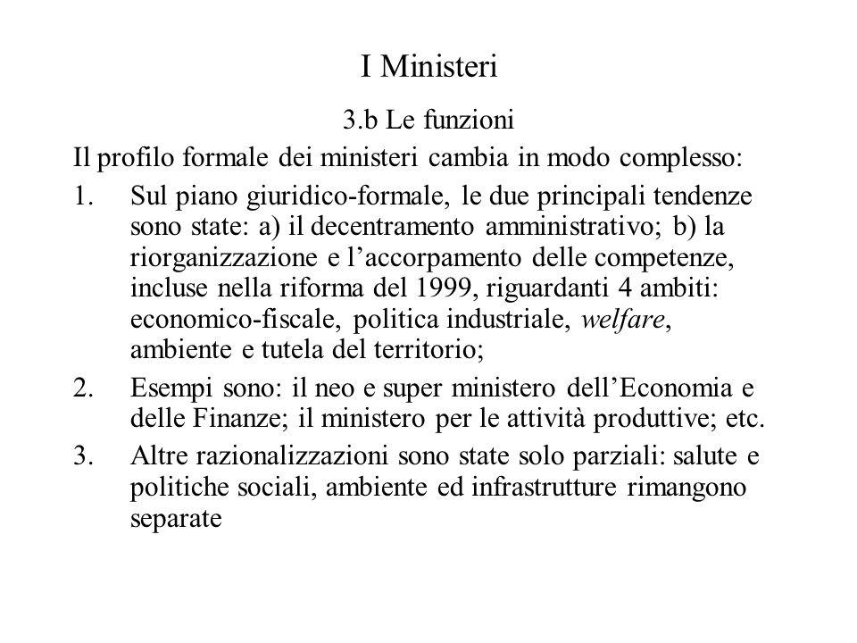 I Ministeri 3.b Le funzioni Il profilo formale dei ministeri cambia in modo complesso: 1.Sul piano giuridico-formale, le due principali tendenze sono