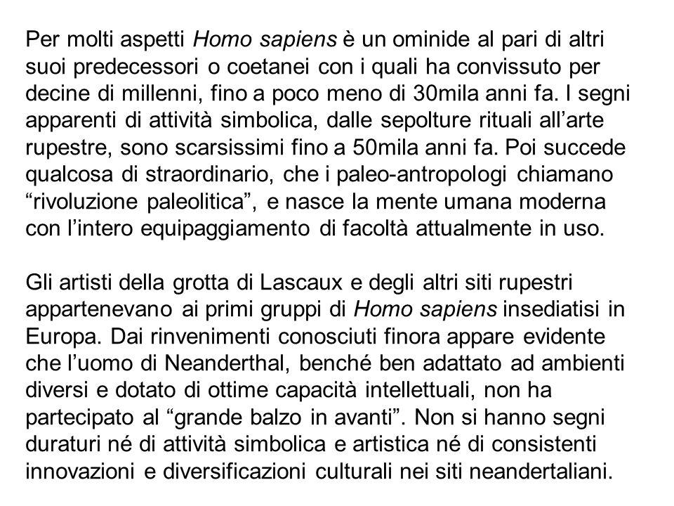 Per molti aspetti Homo sapiens è un ominide al pari di altri suoi predecessori o coetanei con i quali ha convissuto per decine di millenni, fino a poc