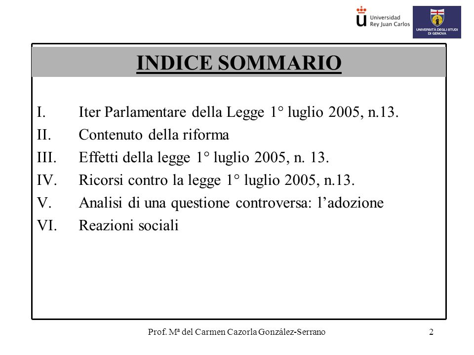 Prof. Mª del Carmen Cazorla González-Serrano2 I.Iter Parlamentare della Legge 1° luglio 2005, n.13.