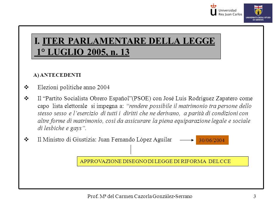 Prof. Mª del Carmen Cazorla González-Serrano3 I. ITER PARLAMENTARE DELLA LEGGE 1° LUGLIO 2005, n.