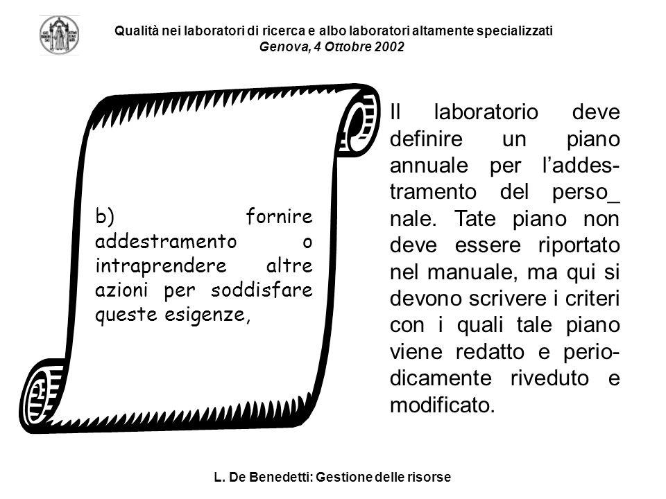 L. De Benedetti: Gestione delle risorse Qualità nei laboratori di ricerca e albo laboratori altamente specializzati Genova, 4 Ottobre 2002 b) fornire