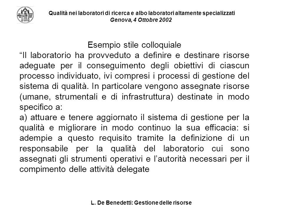 L. De Benedetti: Gestione delle risorse Qualità nei laboratori di ricerca e albo laboratori altamente specializzati Genova, 4 Ottobre 2002 Esempio sti