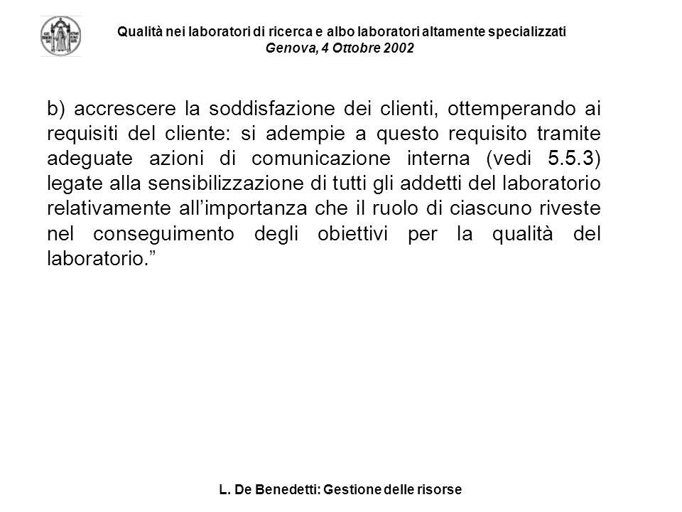 L. De Benedetti: Gestione delle risorse Qualità nei laboratori di ricerca e albo laboratori altamente specializzati Genova, 4 Ottobre 2002 b) accresce