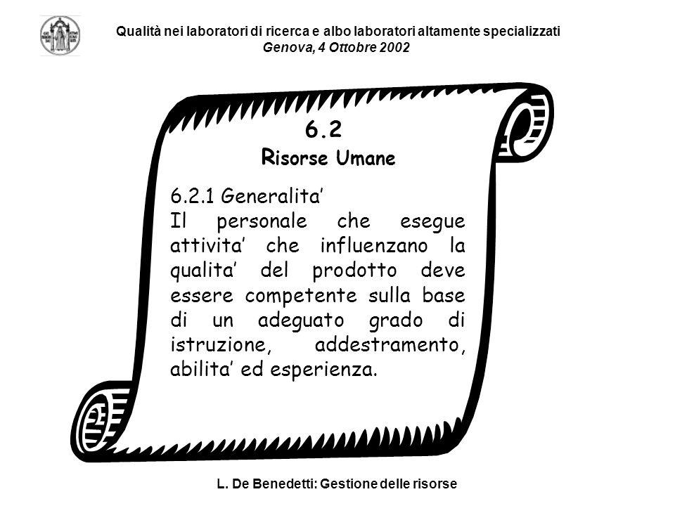 L. De Benedetti: Gestione delle risorse Qualità nei laboratori di ricerca e albo laboratori altamente specializzati Genova, 4 Ottobre 2002 6.2.1 Gener