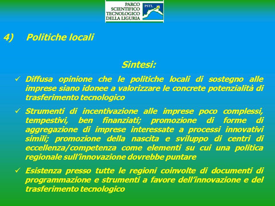 4) Politiche locali Sintesi: Diffusa opinione che le politiche locali di sostegno alle imprese siano idonee a valorizzare le concrete potenzialità di