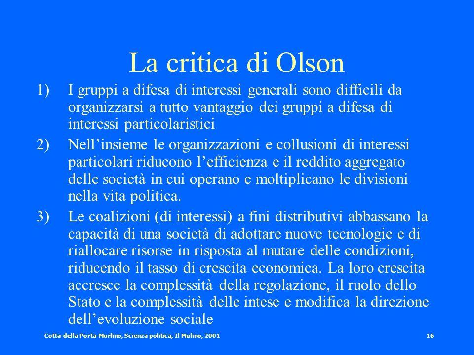 Cotta-della Porta-Morlino, Scienza politica, Il Mulino, 200115 La teoria pluralista dei gruppi La presenza dei gruppi come fonte di : 1)Equilibrio. La