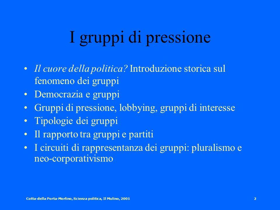 Cotta-della Porta-Morlino, Scienza politica, Il Mulino, 20011 I gruppi di pressione Università degli Studi di Genova Prof. Andrea Mignone Corso di PAR
