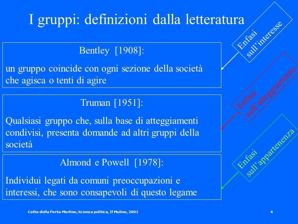 Cotta-della Porta-Morlino, Scienza politica, Il Mulino, 20013 Riferimenti storici al fenomeno dei gruppi Le gilde (Medio evo) Le corporazioni (i Comun