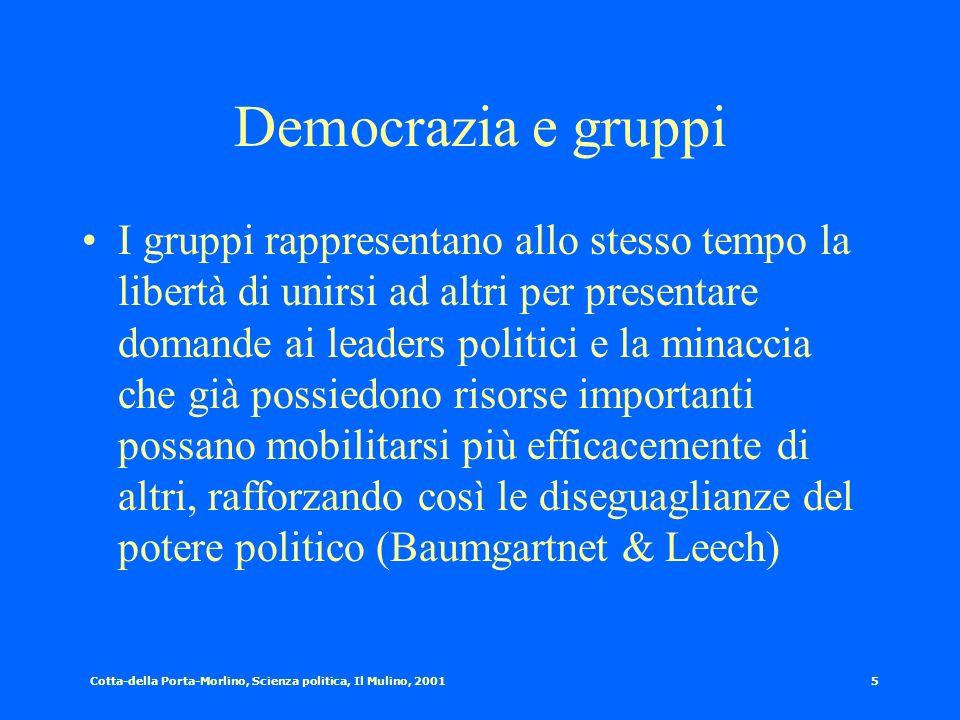 Cotta-della Porta-Morlino, Scienza politica, Il Mulino, 20014 I gruppi: definizioni dalla letteratura Bentley [1908]: un gruppo coincide con ogni sezi