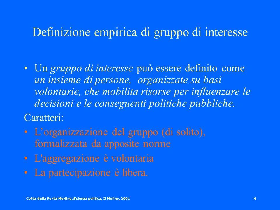 Cotta-della Porta-Morlino, Scienza politica, Il Mulino, 20015 Democrazia e gruppi I gruppi rappresentano allo stesso tempo la libertà di unirsi ad alt