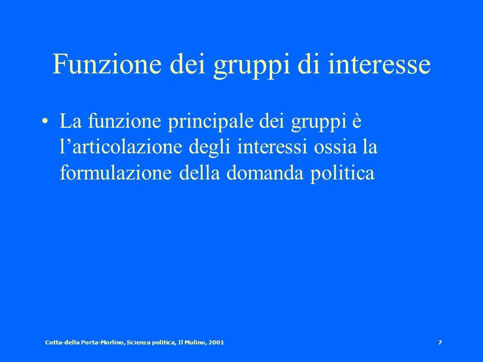 Cotta-della Porta-Morlino, Scienza politica, Il Mulino, 20016 Definizione empirica di gruppo di interesse Un gruppo di interesse può essere definito c
