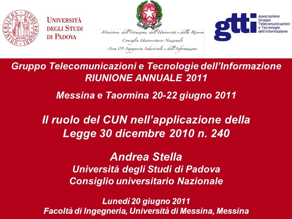 Gruppo Telecomunicazioni e Tecnologie dellInformazione RIUNIONE ANNUALE 2011 Messina e Taormina 20-22 giugno 2011 Il ruolo del CUN nellapplicazione della Legge 30 dicembre 2010 n.