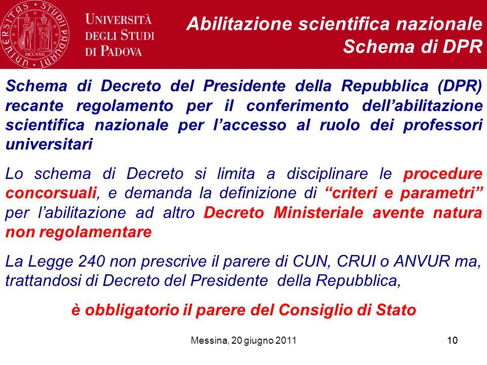 Messina, 20 giugno 201110 Abilitazione scientifica nazionale Schema di DPR Schema di Decreto del Presidente della Repubblica (DPR) recante regolamento